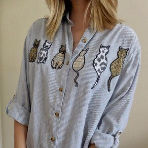 Vintage Embroidered Cat Striped Button Down Shirt